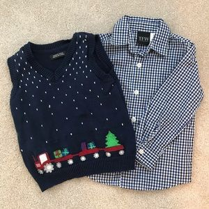24 months Christmas train vest and collared shirt